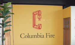 Columbia Fire logo painted on a wall